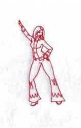 Disco Redwork embroidery design