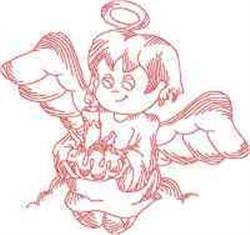 Redwork Christmas Angel embroidery design