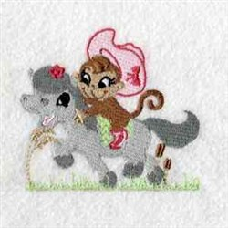 Monkey Cowgirl embroidery design