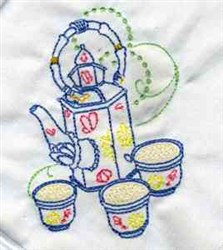 Redwork Decorative Teapots embroidery design
