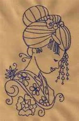 Redwork Geisha embroidery design