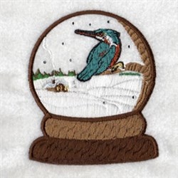 Bird Snowglobe embroidery design