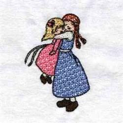 Mother Daughter Hug embroidery design