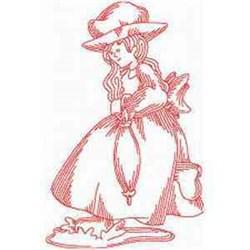 Redwork Rain Woman embroidery design