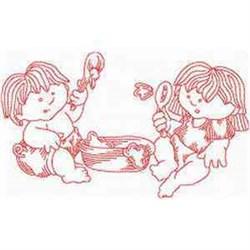 Redwork Summer Children embroidery design