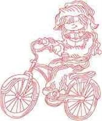 Redwork Bicyclist embroidery design