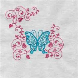 Redwork Swirl Butterfly embroidery design