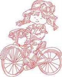 Redwork Bike Girl embroidery design