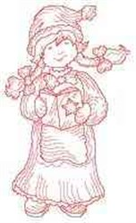 Redwork Caroler embroidery design