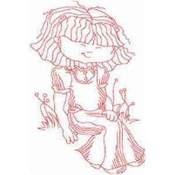 Redwork Girl embroidery design