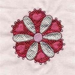 Mylar Flower Hearts embroidery design