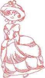 Redwork Dress Girl embroidery design