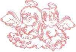 Christmas Angels Redwork embroidery design