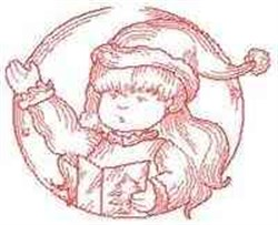 Caroler Circle Redwork embroidery design