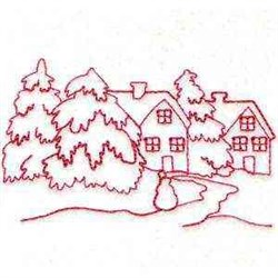Redwork Winter Home embroidery design