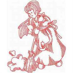 Cleaning Woman Redwork embroidery design