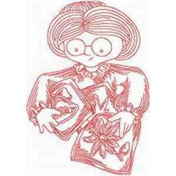 Granny Redwork embroidery design