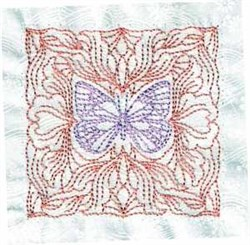 Butterfly Redwork Quilt embroidery design