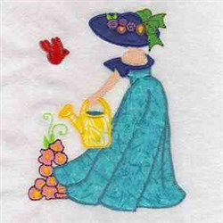 Applique Woman Gardening embroidery design