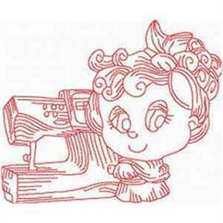 Redwork Sewing Woman embroidery design