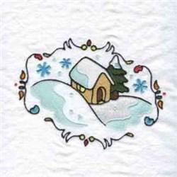 Decorative Winter House embroidery design