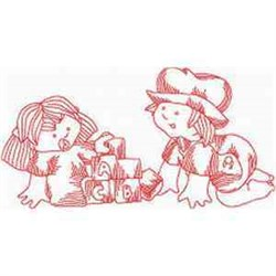 Redwork Toddlers embroidery design
