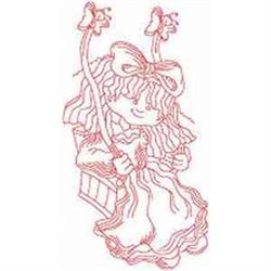 Redwork Swing Girl embroidery design