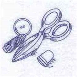 Redwork Scissors embroidery design