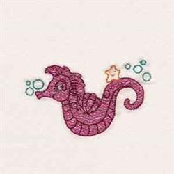 Aquatic Seahorse embroidery design