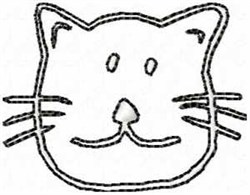 Redwork Cat Head embroidery design