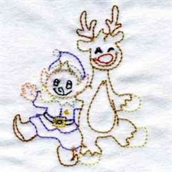 Redwork Reindeer and Elf embroidery design
