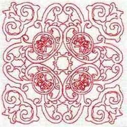 Redwork Swirl Block embroidery design