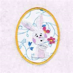 Bunny Easter Egg embroidery design