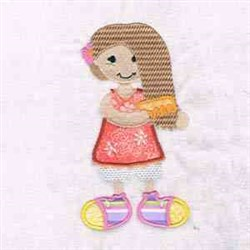 Girl Combing Hair embroidery design