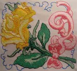 Rose Ribbon embroidery design