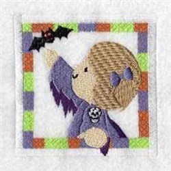 Halloween Bat Girl embroidery design