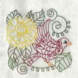 Floral Bird Outline embroidery design