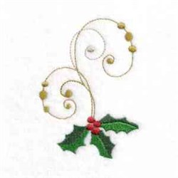 Swirl Holly embroidery design