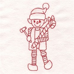 Redwork Elf embroidery design