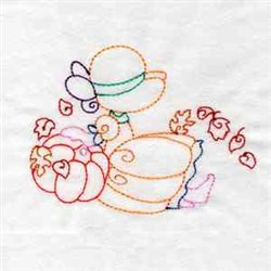 Girl With Pumpkin embroidery design