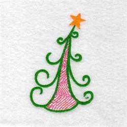 Curly Christmas Tree embroidery design
