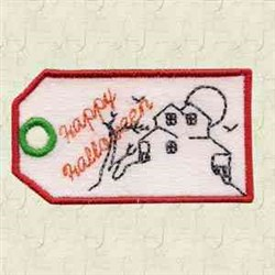 Happy Halloween Tag embroidery design