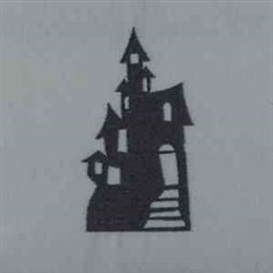 Haunted House Silhouette embroidery design