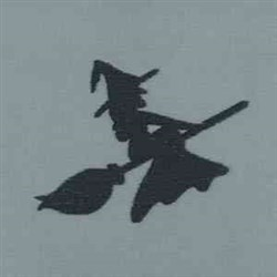 Flying Witch Silhouette embroidery design