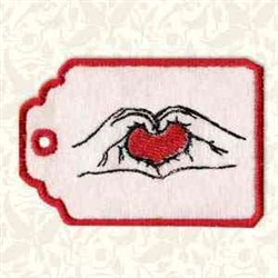 Hold Heart Gift Tag embroidery design