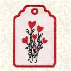 Heart Flower Gift Tag embroidery design