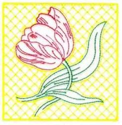 Redwork Tulip Quilt embroidery design