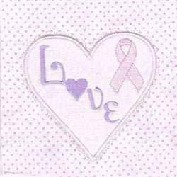 Love Ribbon Block embroidery design