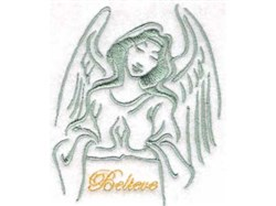 Believe Angel Redwork embroidery design
