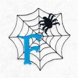 Spiderweb Letter F embroidery design